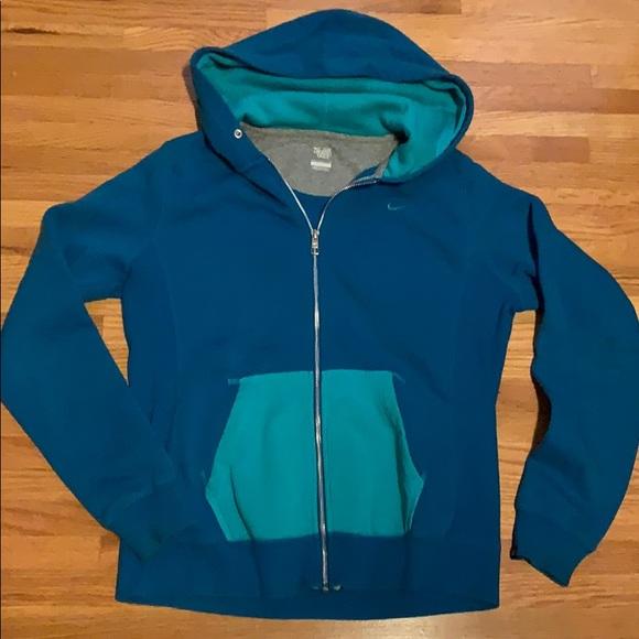 Nike Tops - Nike two-tone zippered hoodie; Sz L
